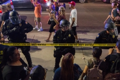 Protesters chant and boo while attendees leave President Trump's rally | Aug. 22