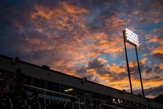 Hadlock Field in Portland, Maine at dusk.